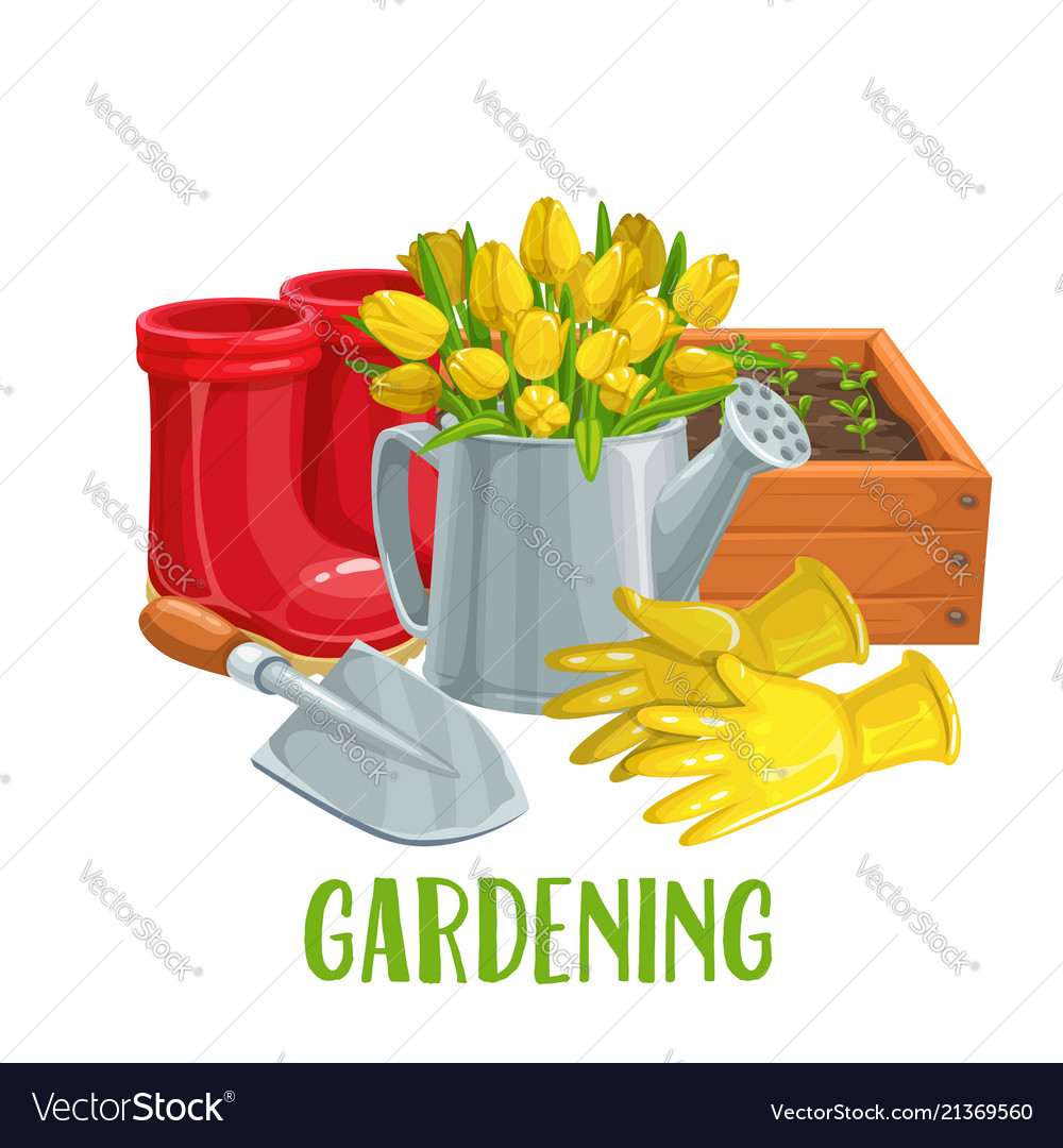 Gardening Banner With Flowers Royalty Free Vector Image