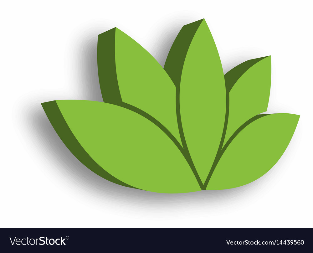 Green Lotus Flower 3d Icon On White Background Vector Image