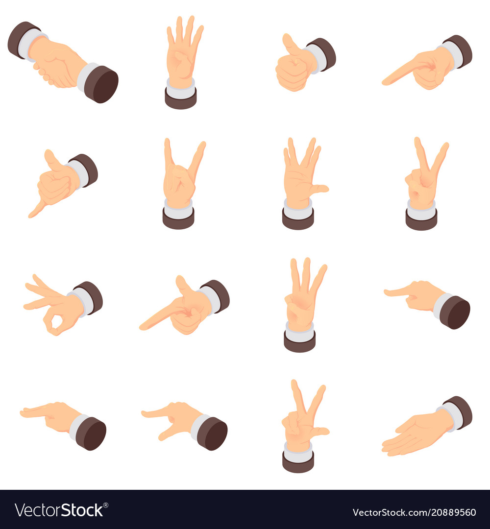 Hand gesture pointer icons set isometric style