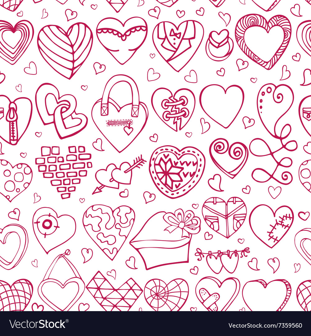 Hearts hand drawing doodlesColored seamless
