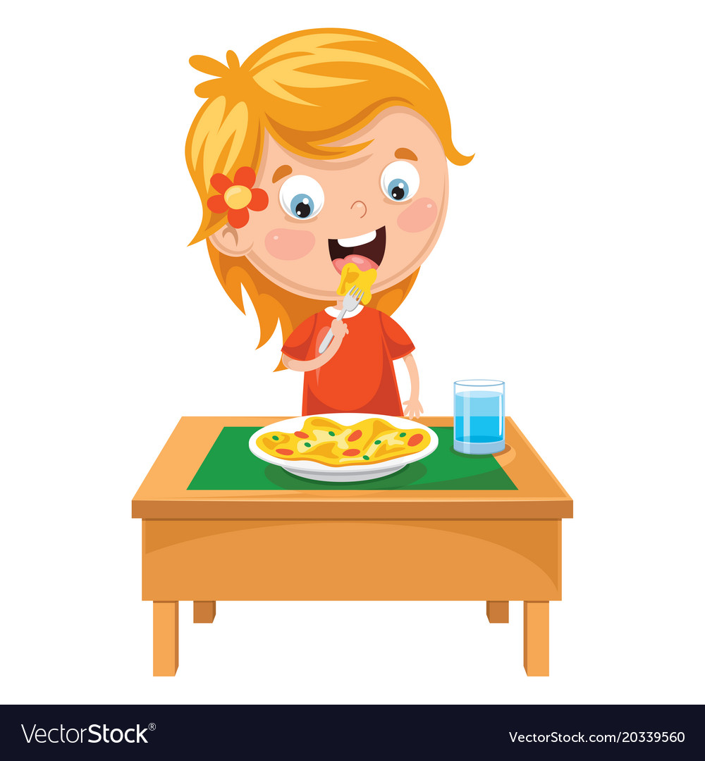 Kid eating meal Royalty Free Vector Image - VectorStock