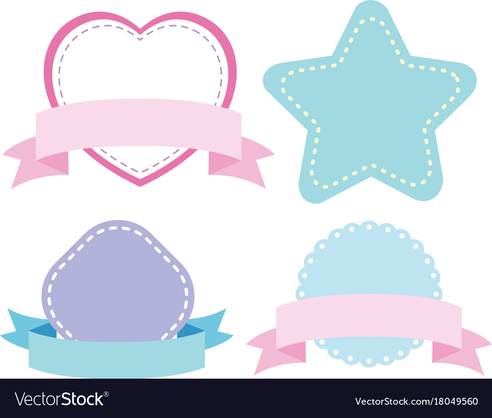 label templates with different shapes in blue and vector image