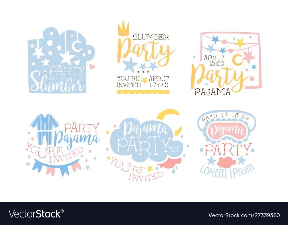 Pajama Party Invitation Card Templates Set