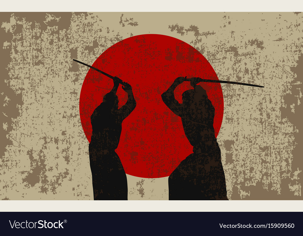 Two men with swords and a flag of japan vector image