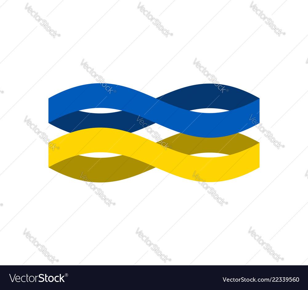 Ukraine flag ribbon isolated ukrainian symbol