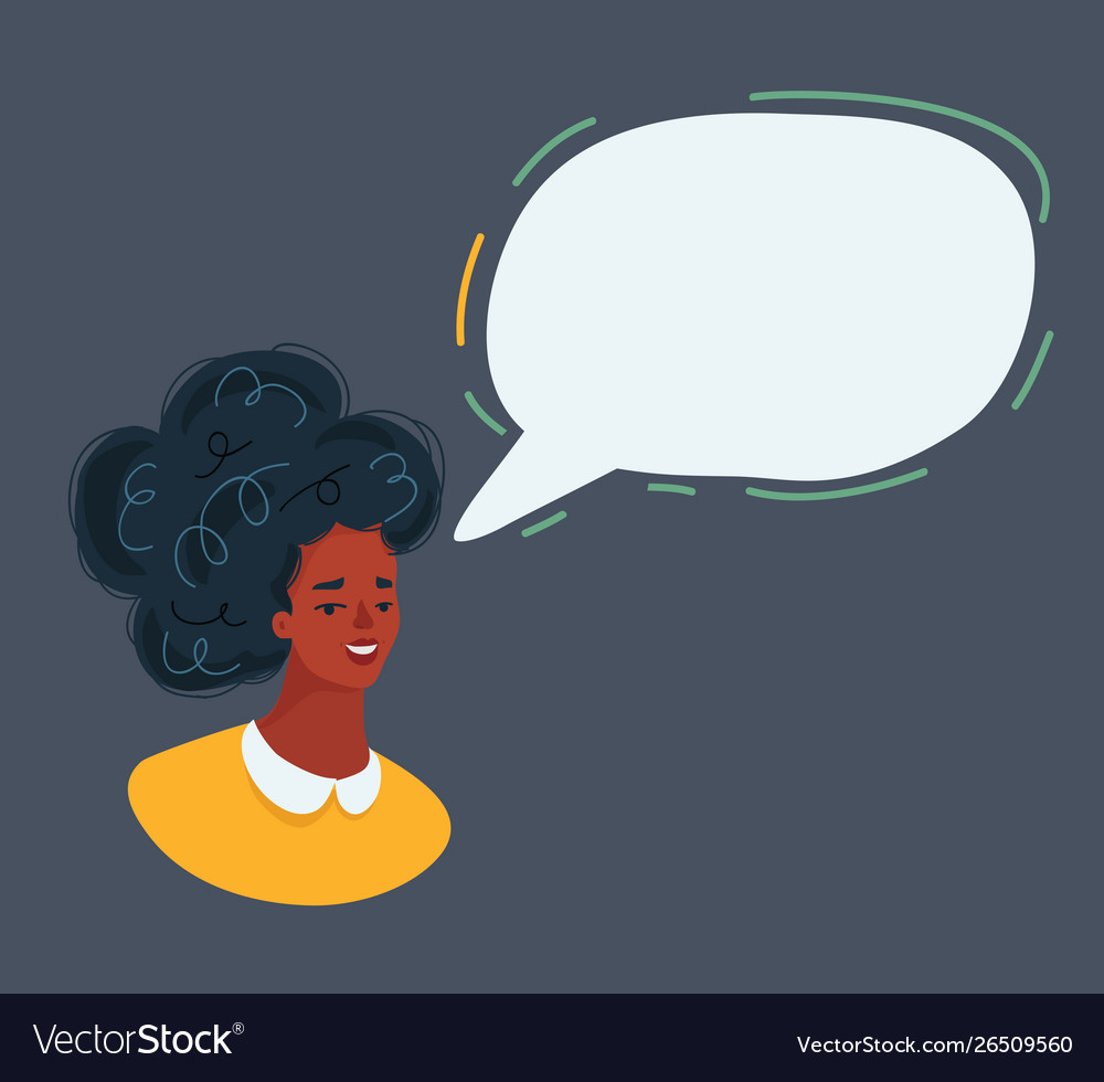 Woman face and speech bubble on dark