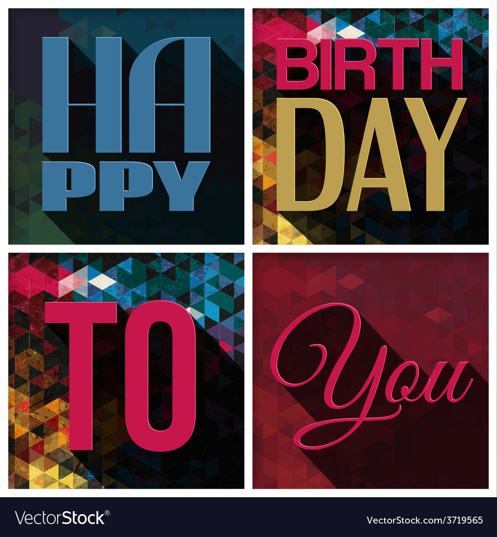 Birthday Card With Text On Triangular Vector Image