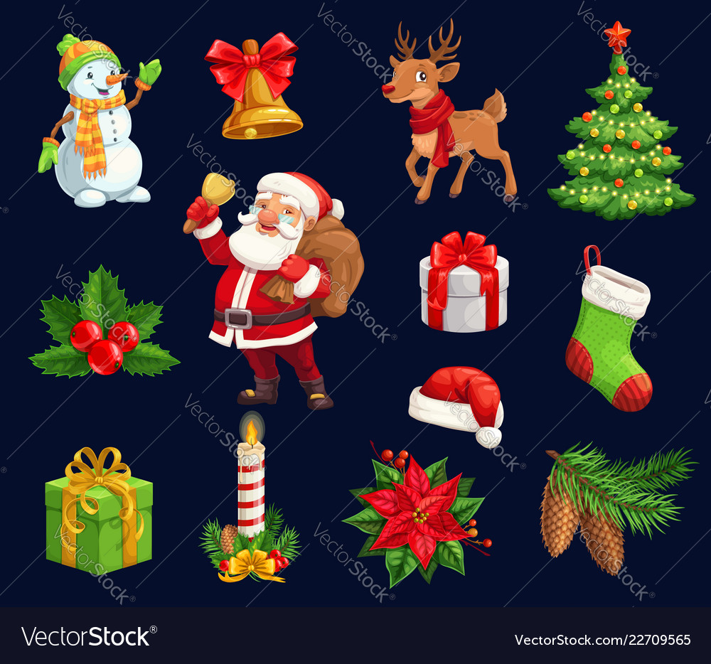 Christmas characters and holiday icons