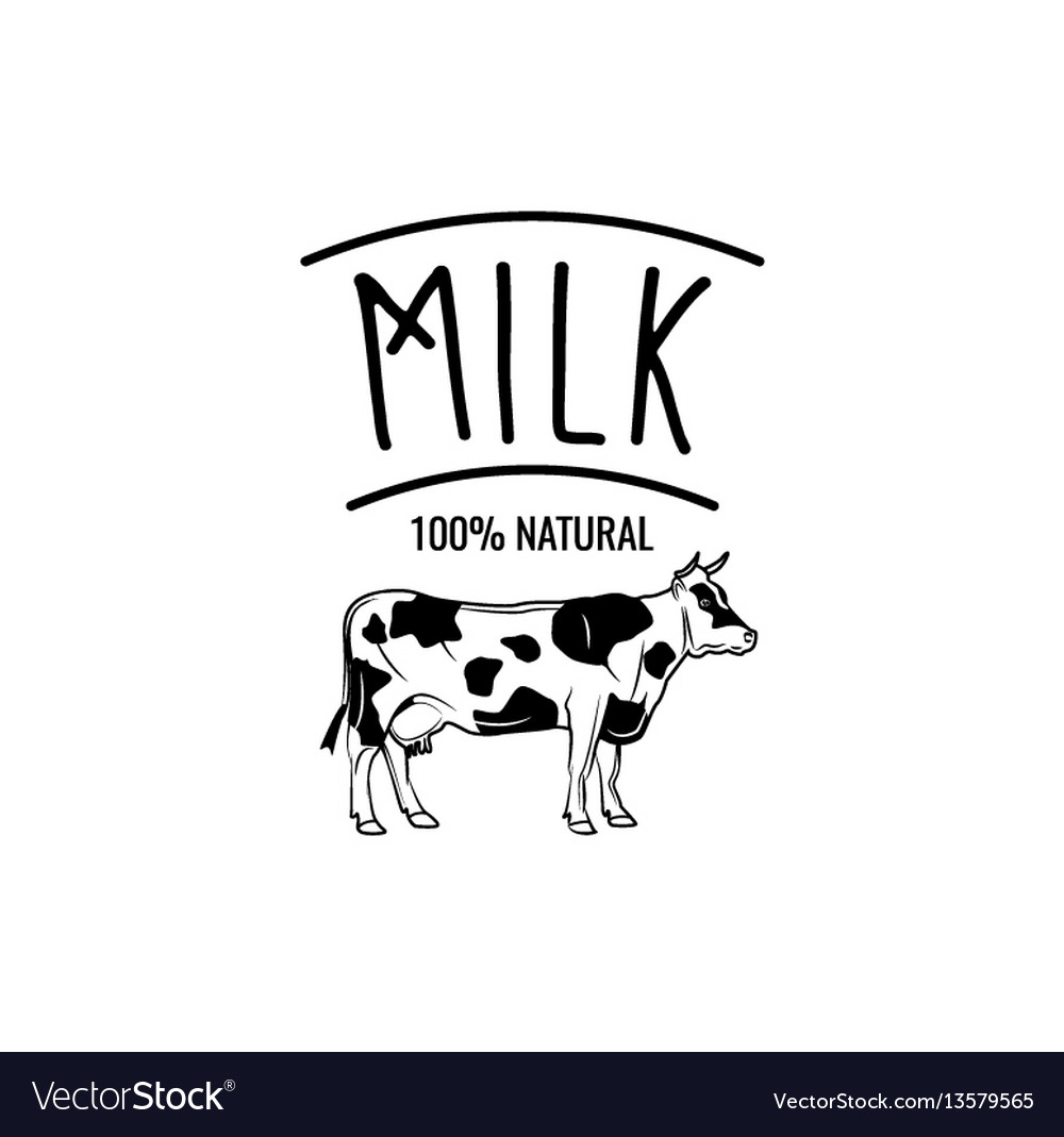 Cow milk badge label isolated on white