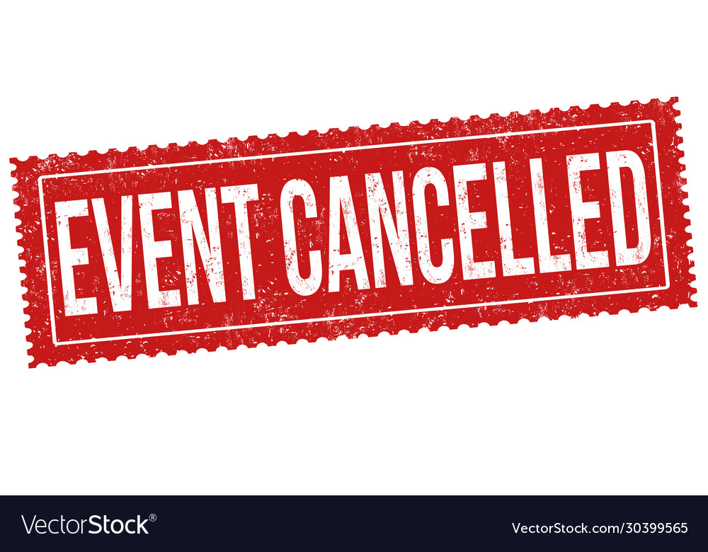 Event cancelled grunge rubber stamp