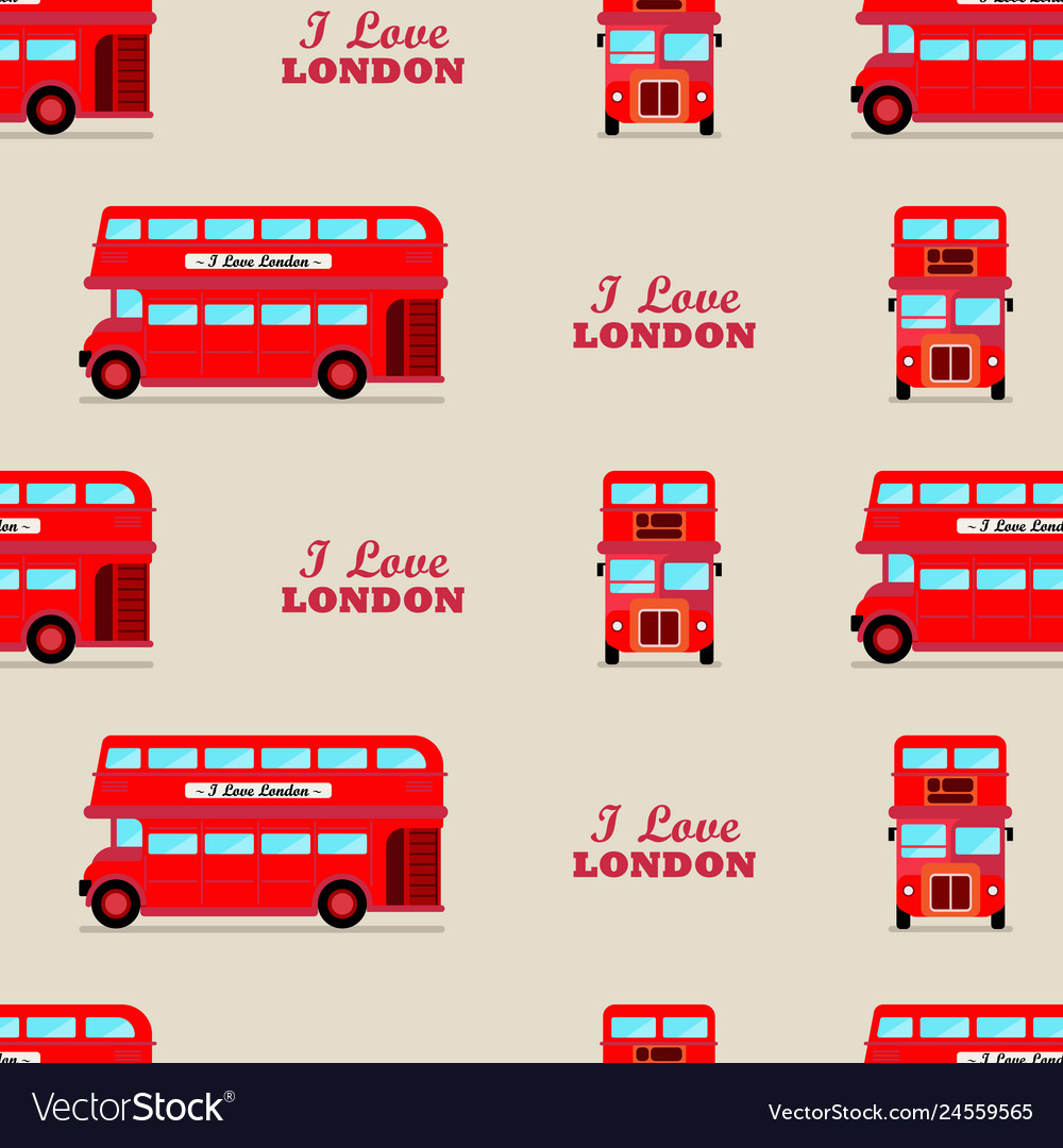 London city bus seamless pattern