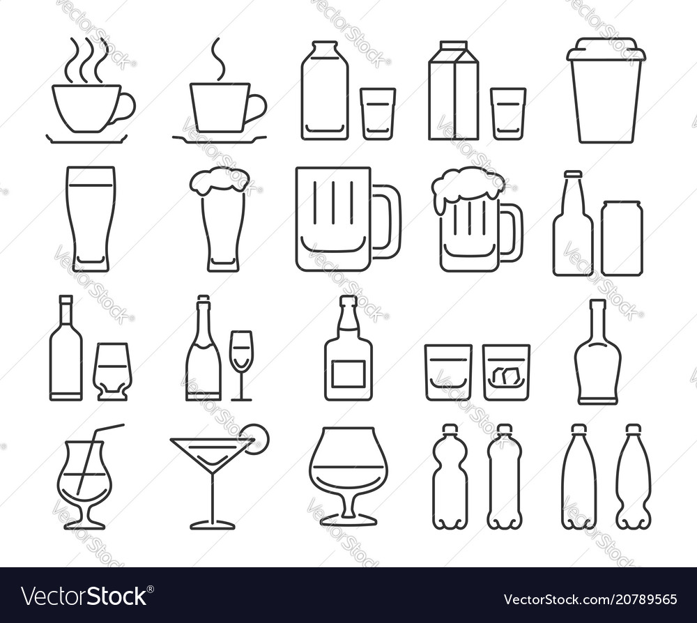 Modern line style icons set 9 drinks beverages in