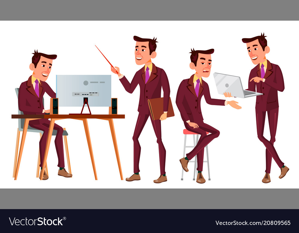 Office worker face emotions various