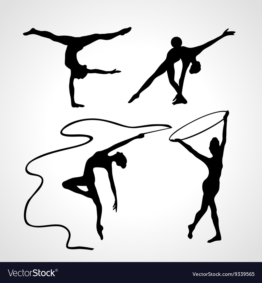 Silhouettes of gymnastic girls Art gymnastics