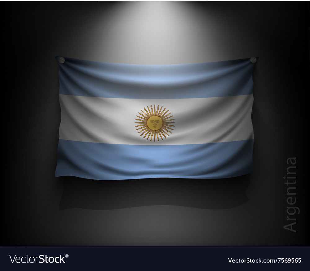 Waving flag Argentina on a dark wall vector image