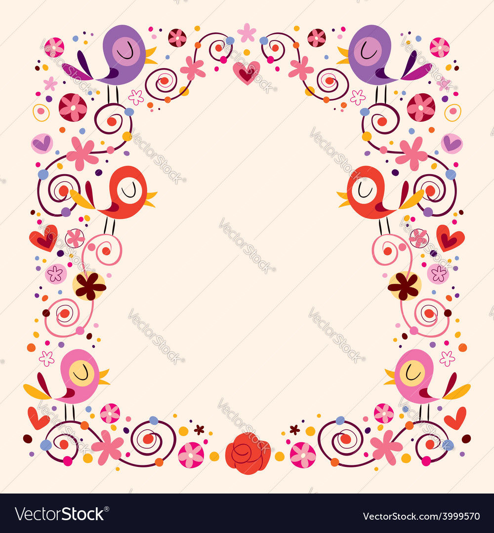 Birds and flowers border frame Royalty Free Vector Image