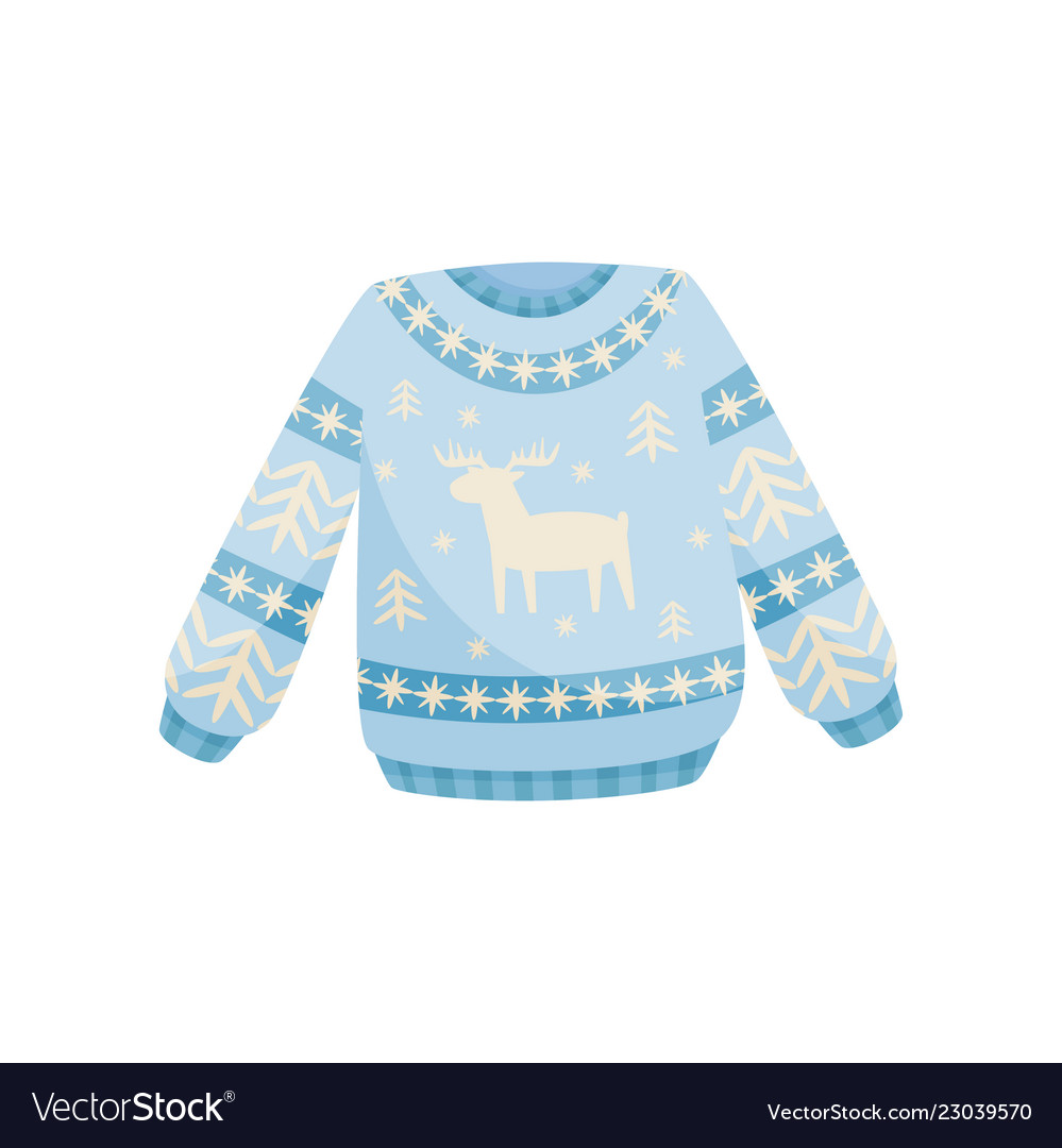 Blue And White Christmas Sweater.Blue And White Christmas Sweater Knitted Warm