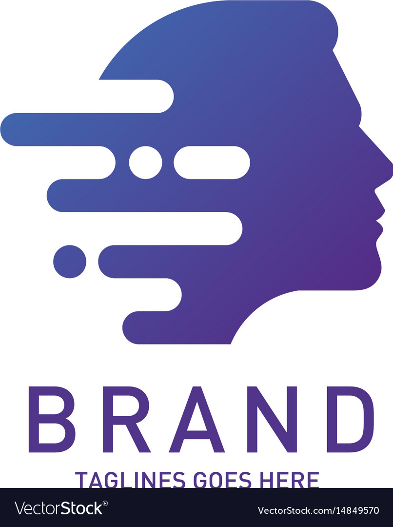 Creative man head logo brain vector image