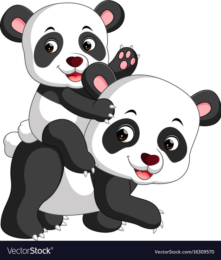 cute panda cartoon royalty free vector image vectorstock rh vectorstock com Cute Cartoon Unicorns Cute Cartoon Pandas with Mustaches
