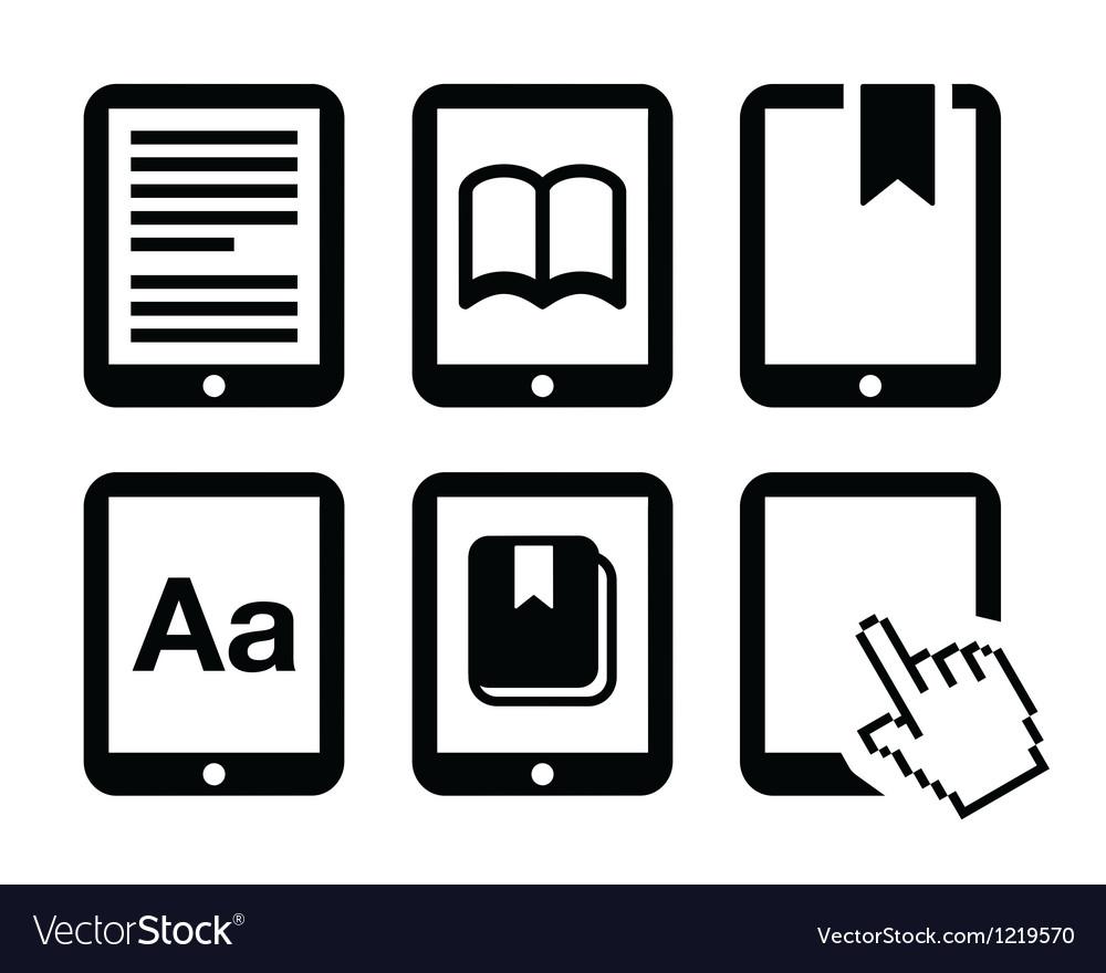 E Book Reader E Reader Icons Set