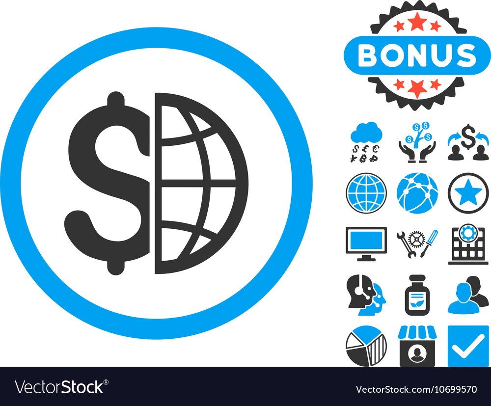 Global Business Flat Icon with Bonus vector image