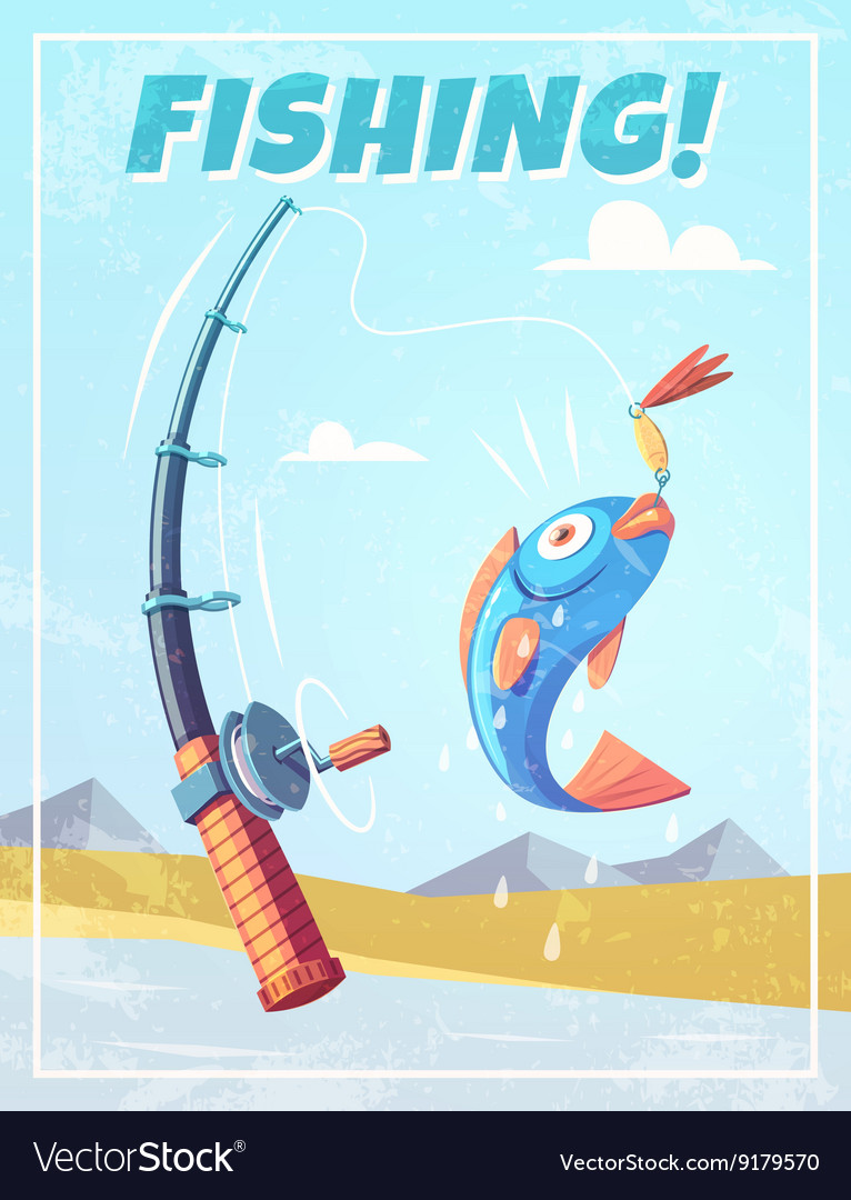 Grunge background with fishing rod and fish
