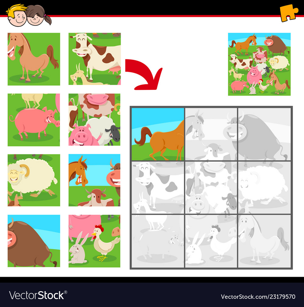 Jigsaw puzzles with farm animals