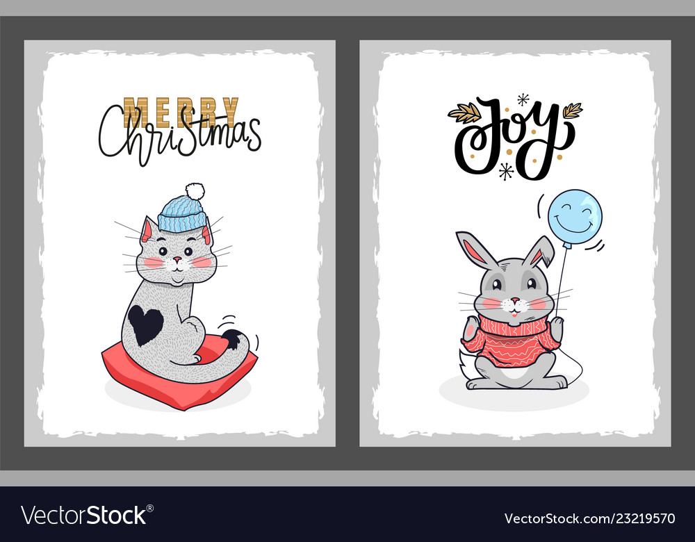 Merry christmas postcard cat in hat and rabbit