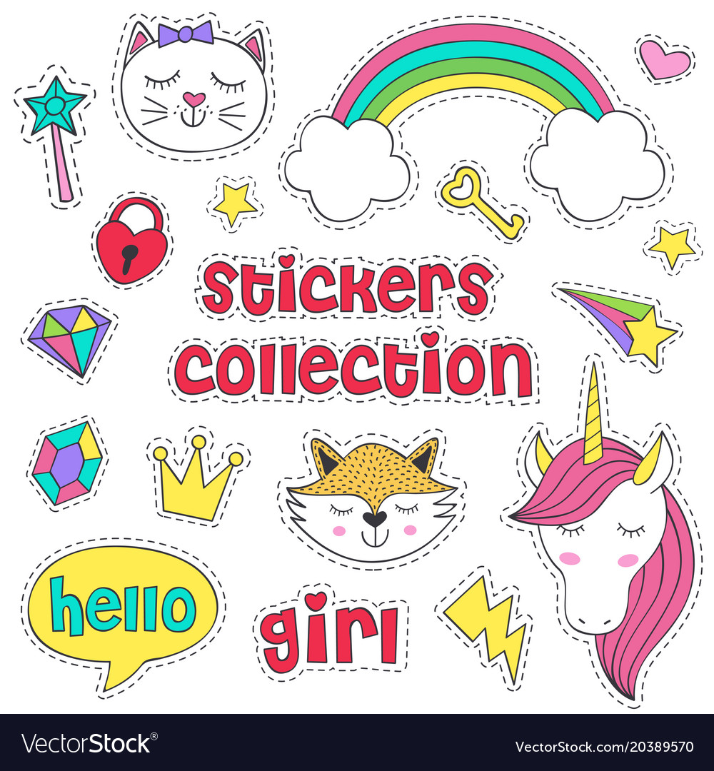 Set of isolated stickers for girl