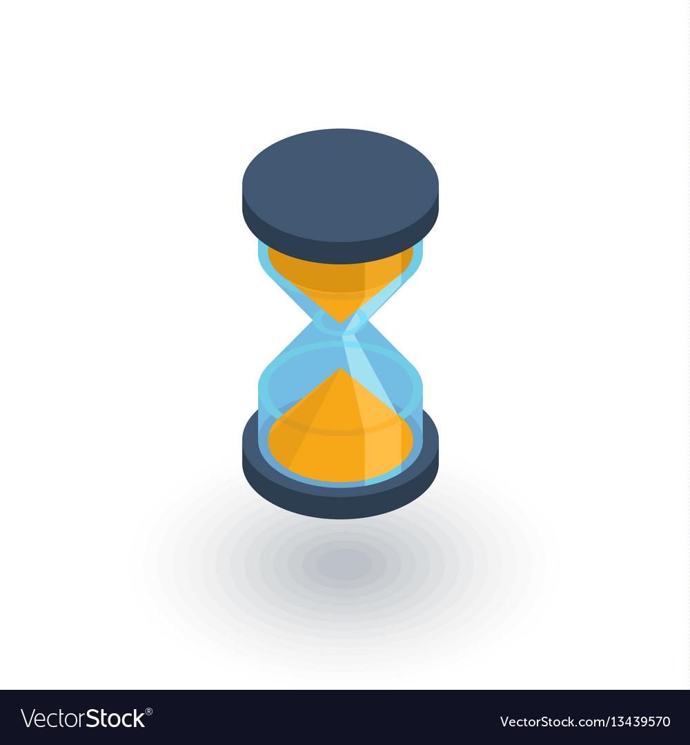 timer sand hourglass glass clock isometric flat vector image