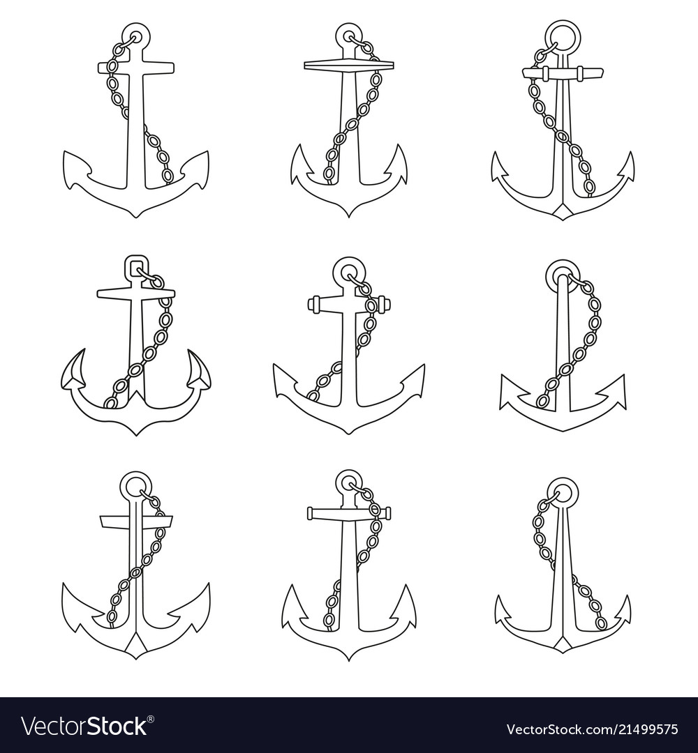 Anchor with chain outline icons set