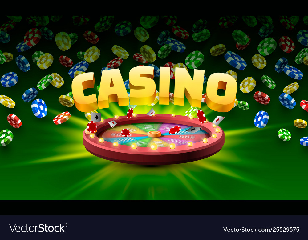 Casino fortune wheel isolated on green background