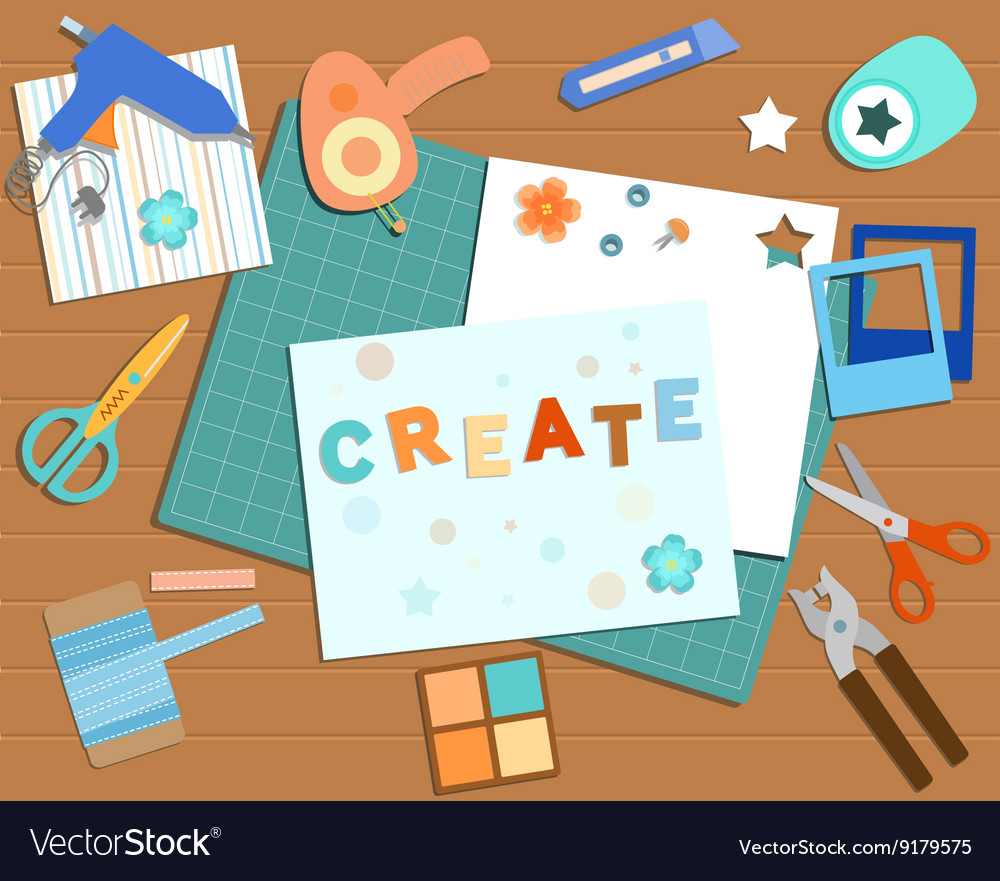 Collection Of Scrapbooking Tools Royalty Free Vector Image