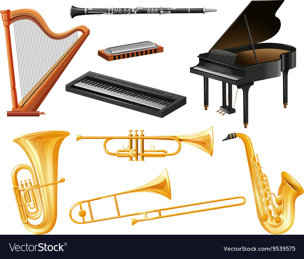 Different kind of musical instruments