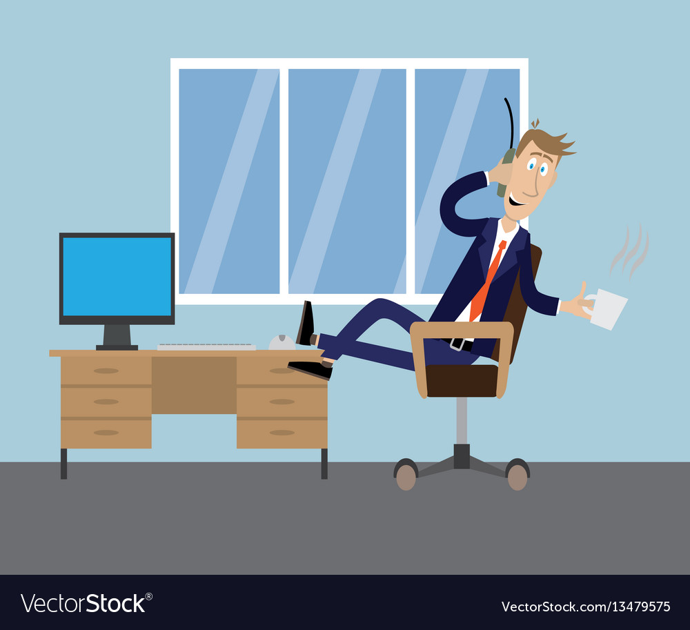 Drinking coffee in the office vector image