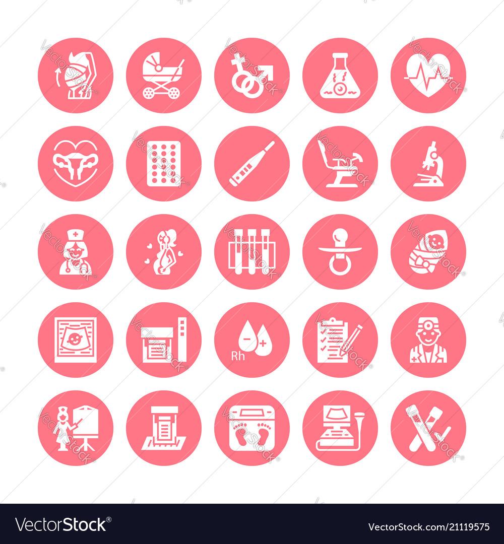 Gynecology obstetrics flat glyph icons