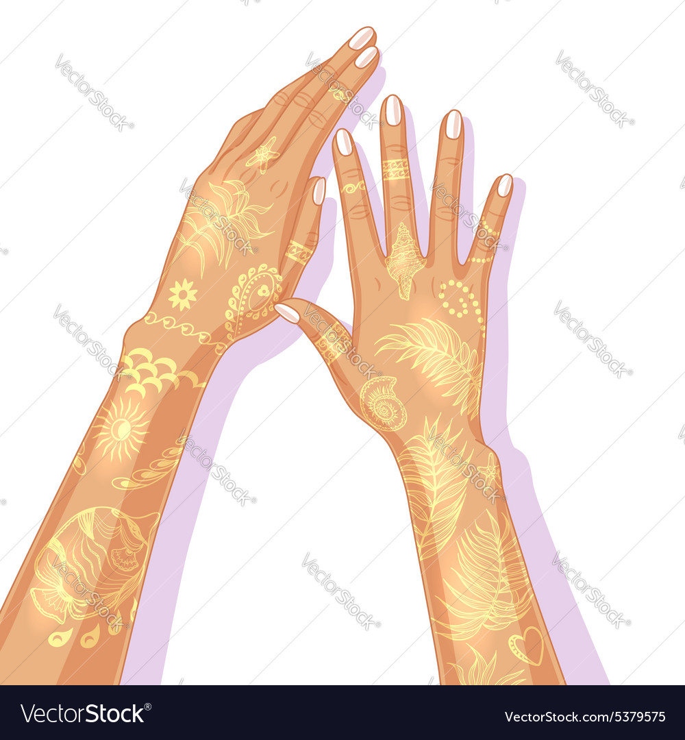Hands with temporary golden tattoo