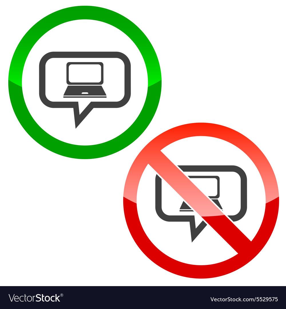 Laptop message permission signs