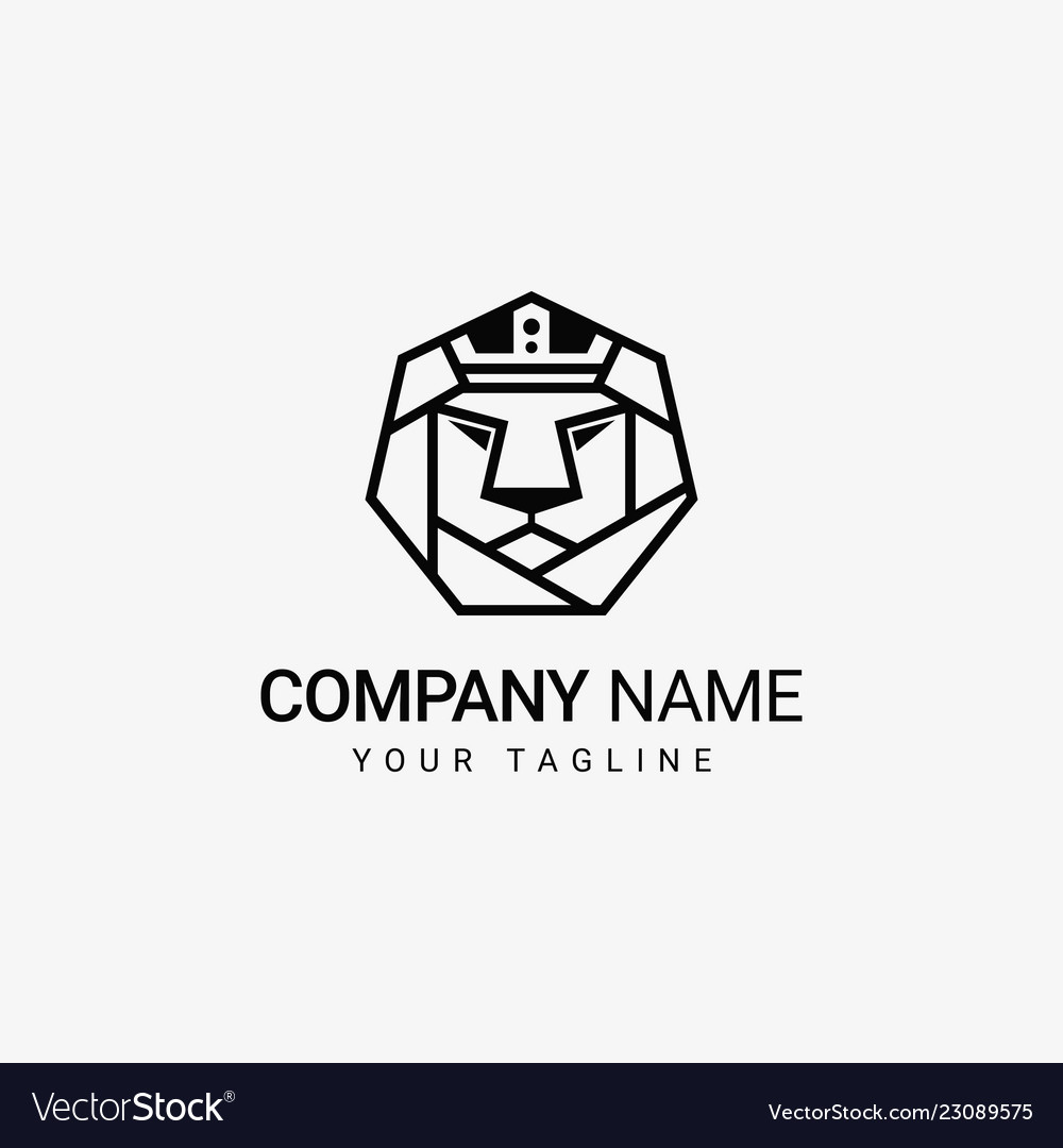 Lion crown in head logo template