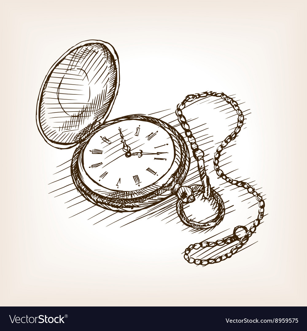 Old Pocket Clock Hand Drawn Sketch Royalty Free Vector Image Use short lines to draw an hourglass shape on top of the circle. vectorstock
