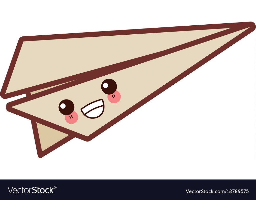 Paper Plane Origami Cute Kawaii Cartoon Royalty Free Vector