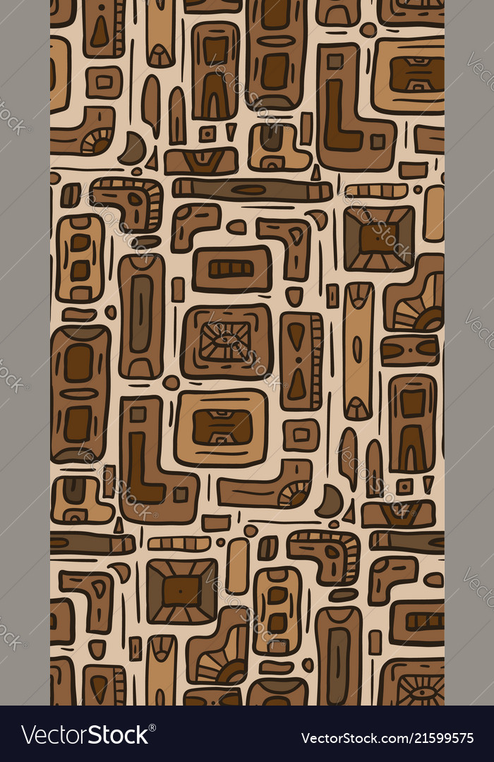Seamless texture with tribal doodle pattern from