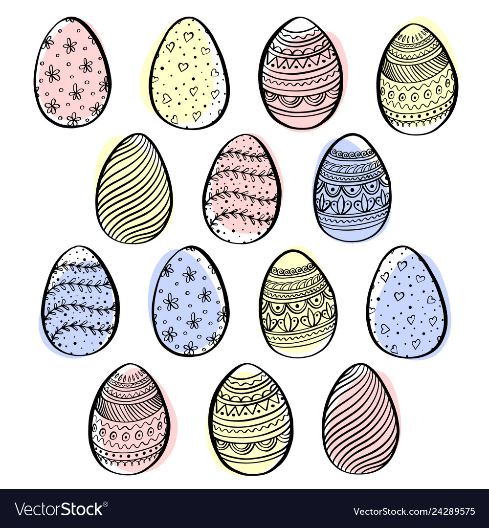 Set decorative easter eggs with pattern