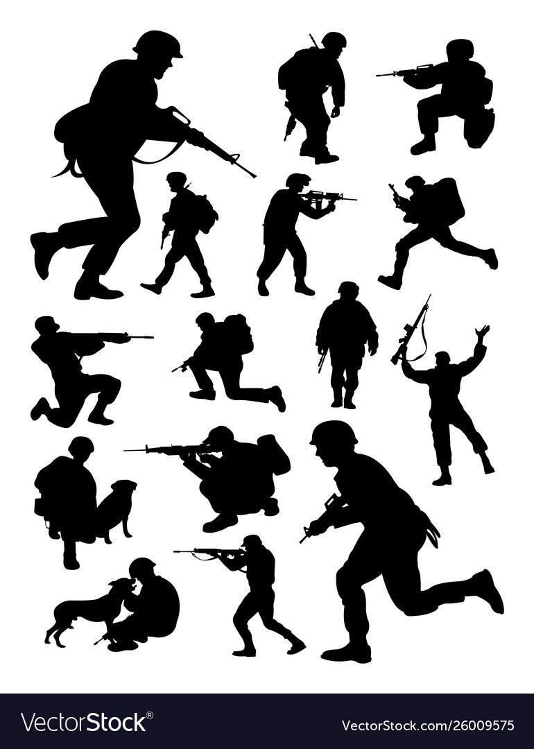 Silhouettes soldier