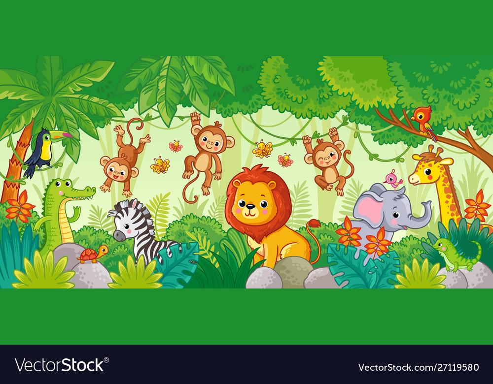 African animals in jungle cute cartoon
