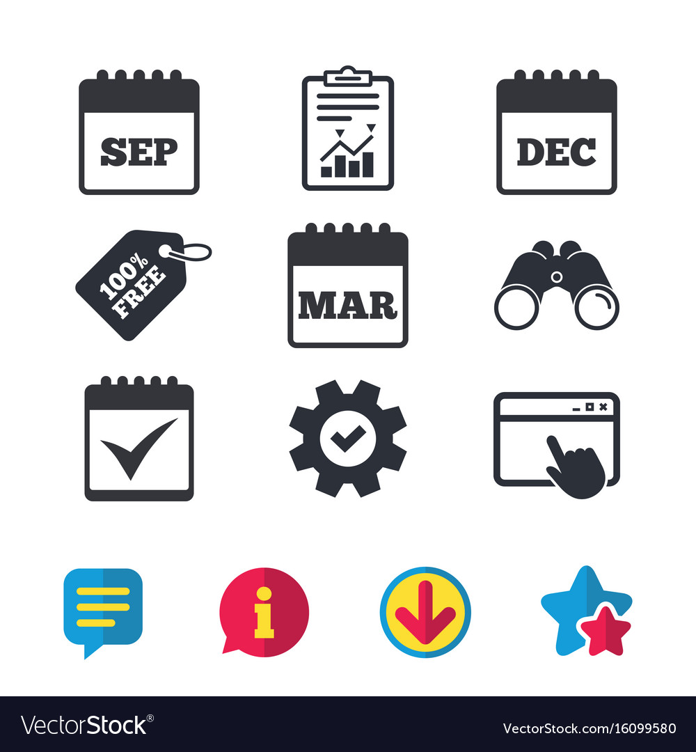 Calendar icons september march december vector image