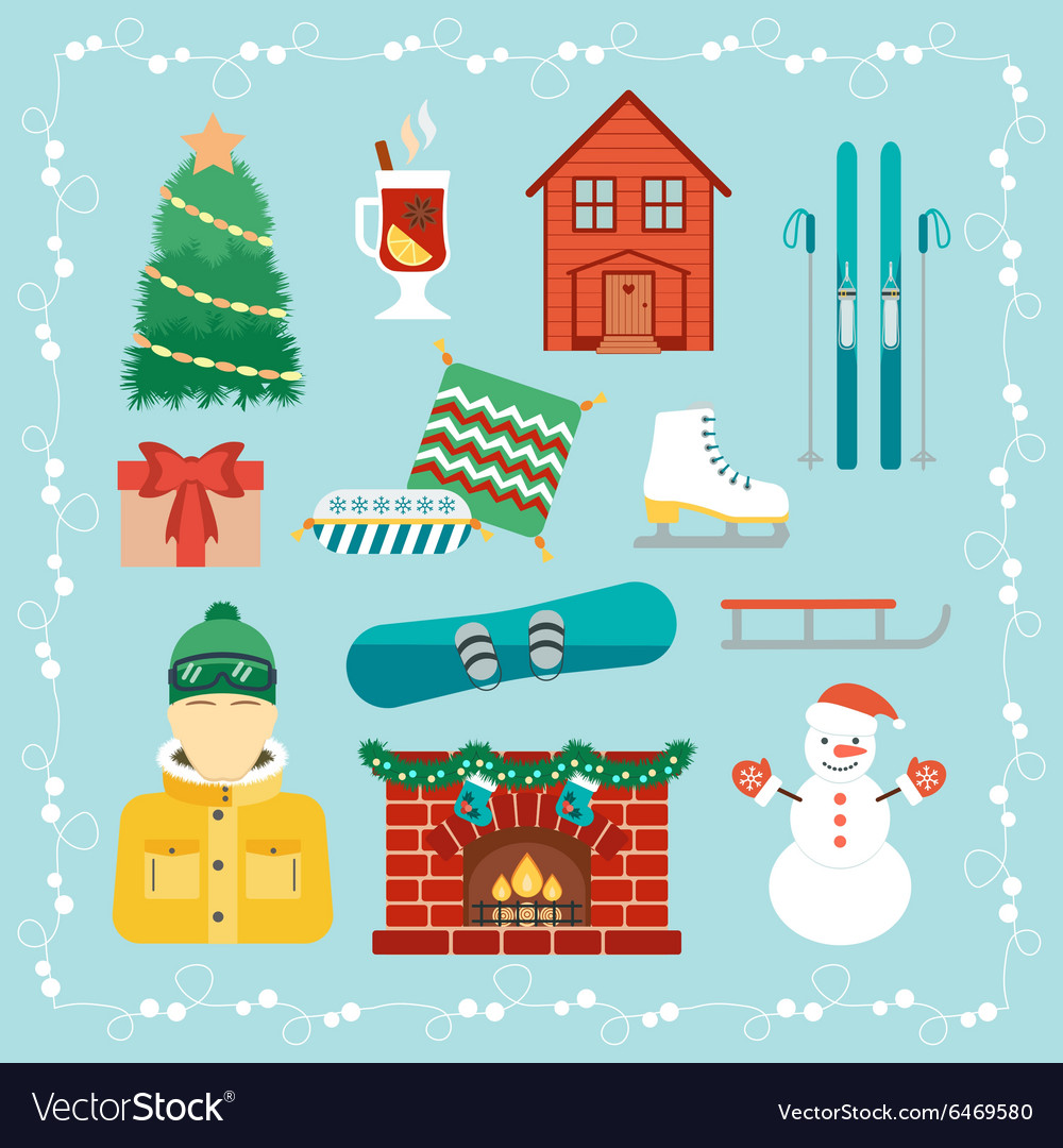 Christmas holidays icons Winter holidays