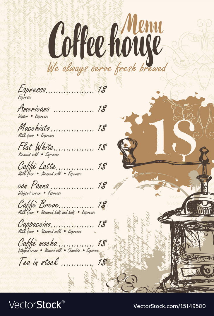 Coffee menu with price list and coffee grinder