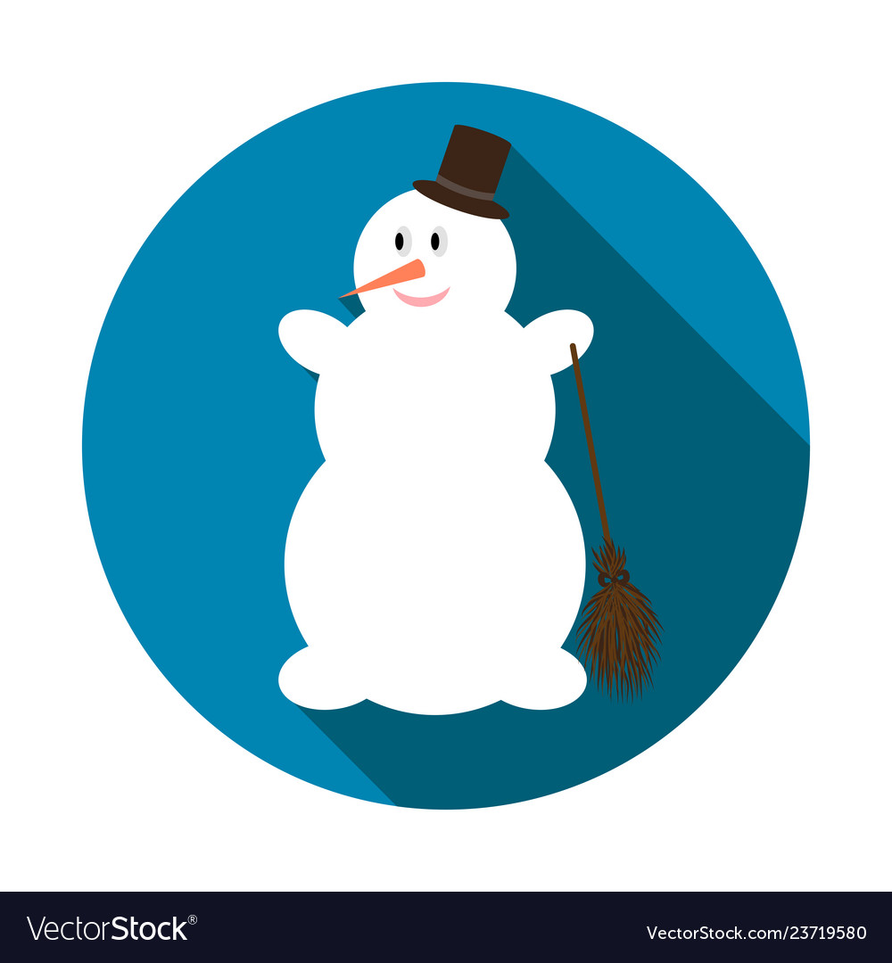Cute snowman on blue background with long shadow