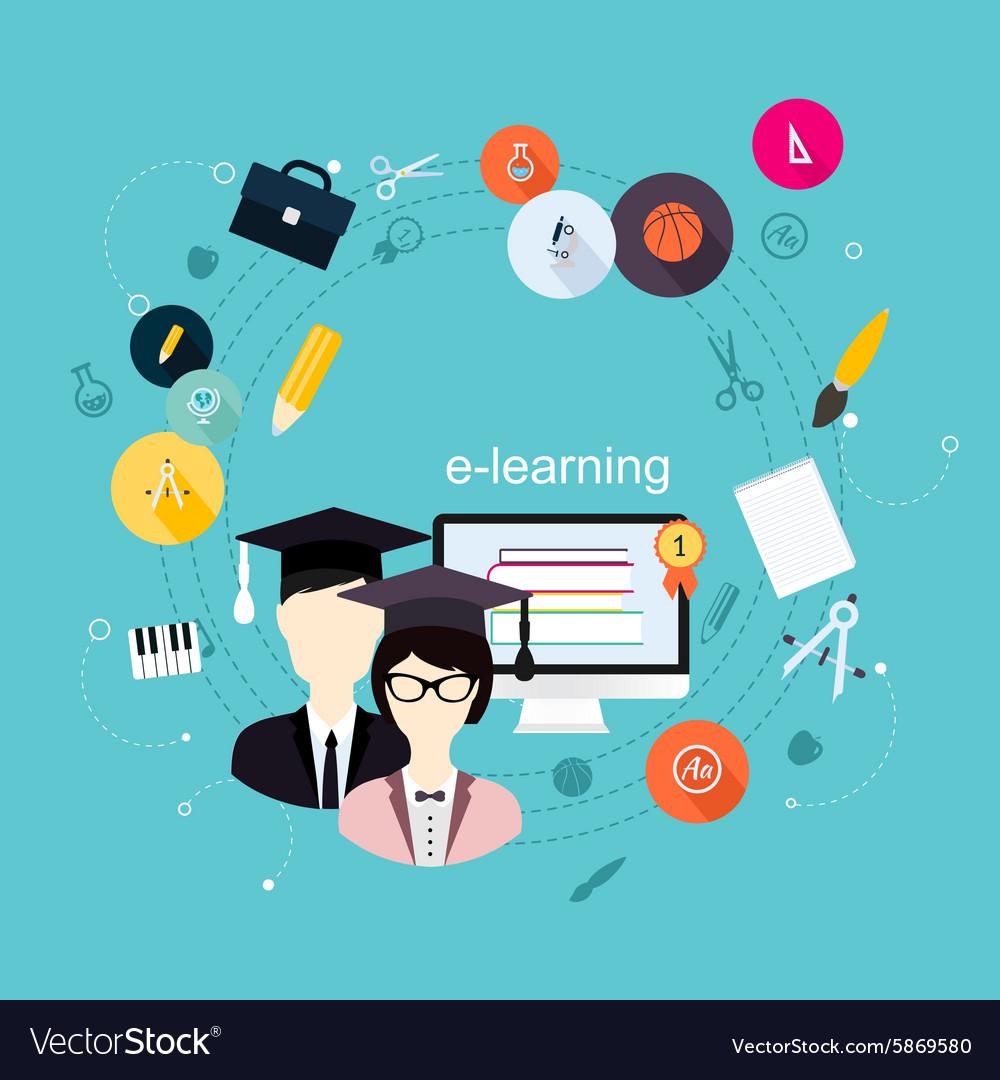 Education school university e-learning flat poster vector image